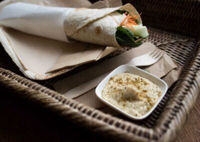 Vegabond Wrap with homemade hummus