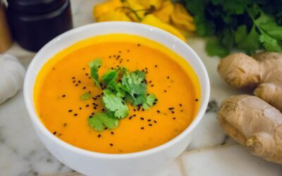 Pumpkin soup with a Caribbean touch